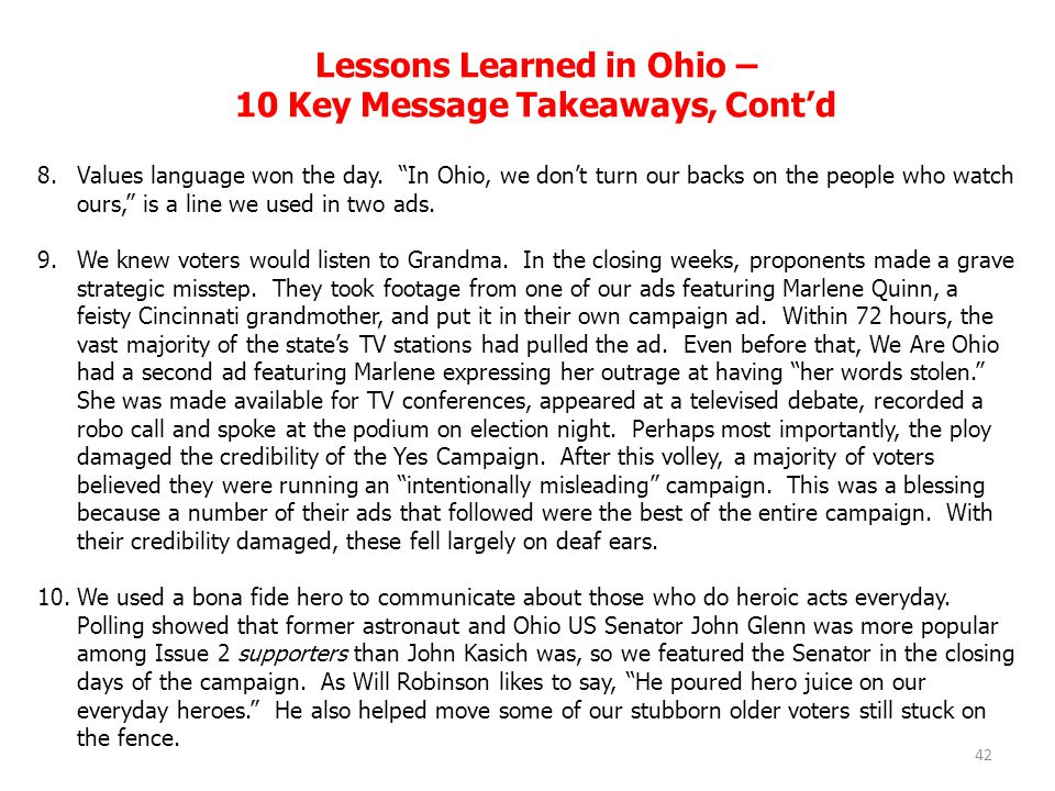 Lessons Learned in Ohio – 10 Key Message Takeaways, Cont'd