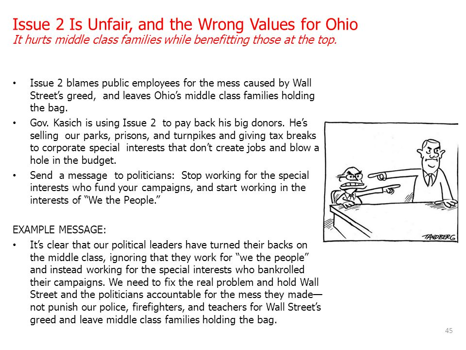 Issue 2 Is Unfair, and the Wrong Values for Ohio It hurts middle class families while benefitting those at the top.