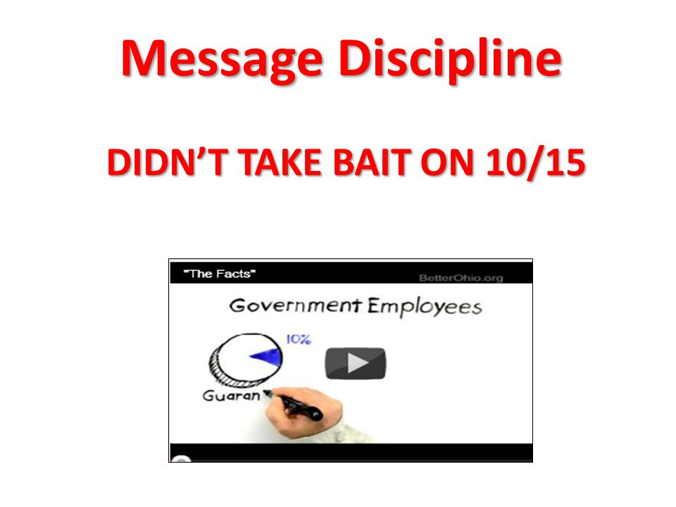 Message Discipline DIDN'T TAKE BAIT ON 10/15