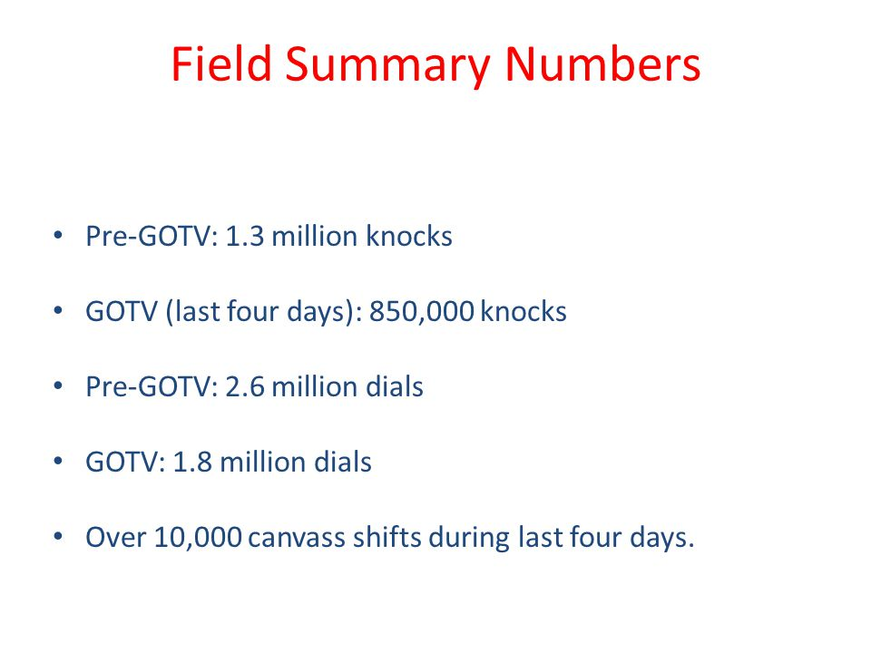 Field Summary Numbers Pre-GOTV: 1.3 million knocks