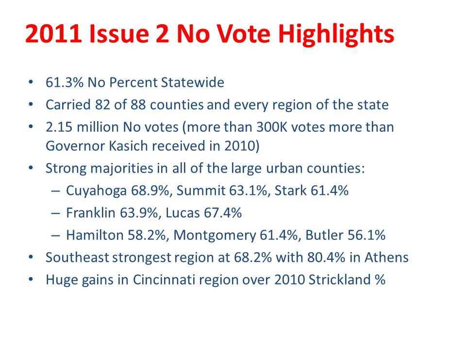 2011 Issue 2 No Vote Highlights