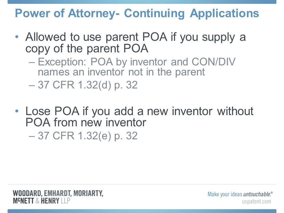 Power of Attorney- Continuing Applications