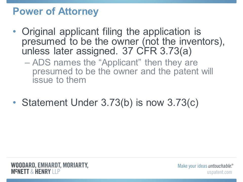 Statement Under 3.73(b) is now 3.73(c)