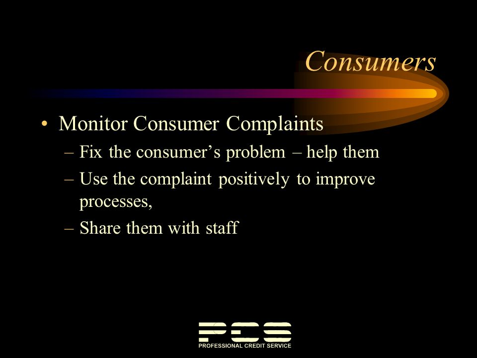 Consumers Monitor Consumer Complaints