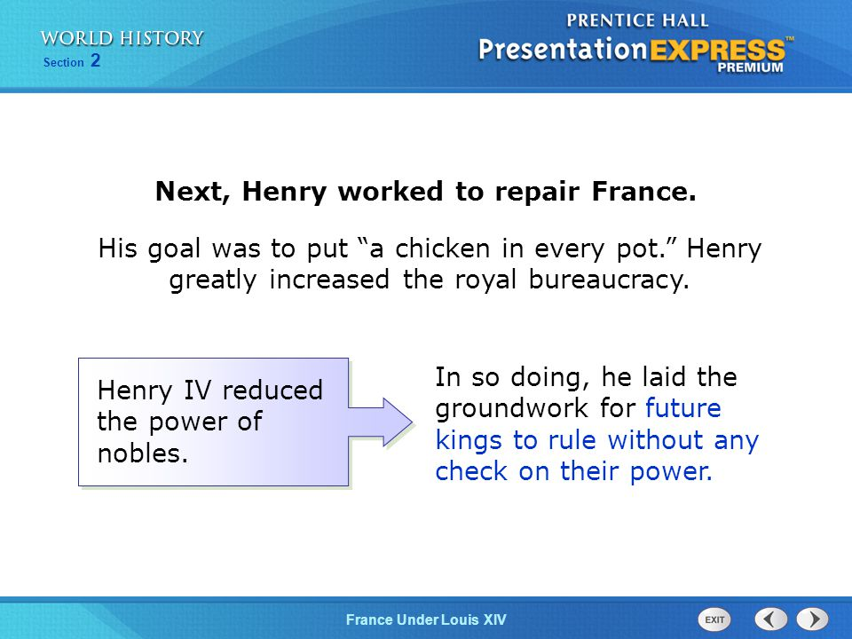 Next, Henry worked to repair France.