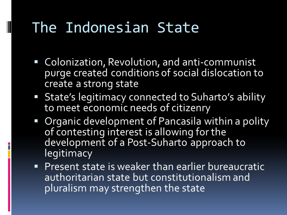 The Indonesian State Colonization, Revolution, and anti-communist purge created conditions of social dislocation to create a strong state.