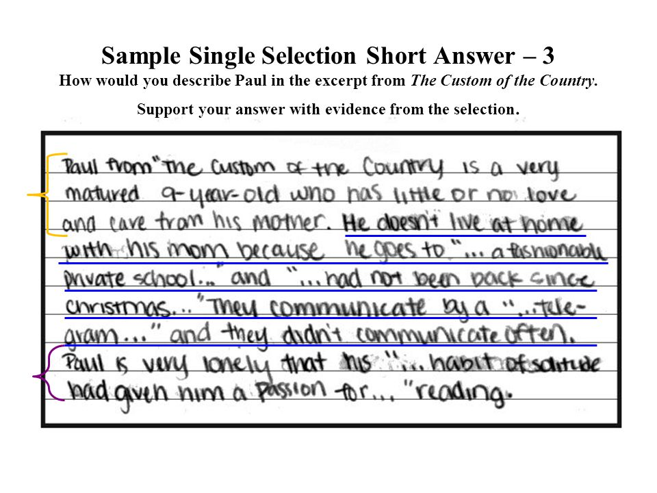 Sample Single Selection Short Answer – 3 How would you describe Paul in the excerpt from The Custom of the Country.