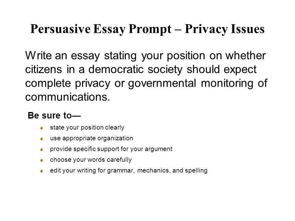 Persuasive Essay Prompt – Privacy Issues