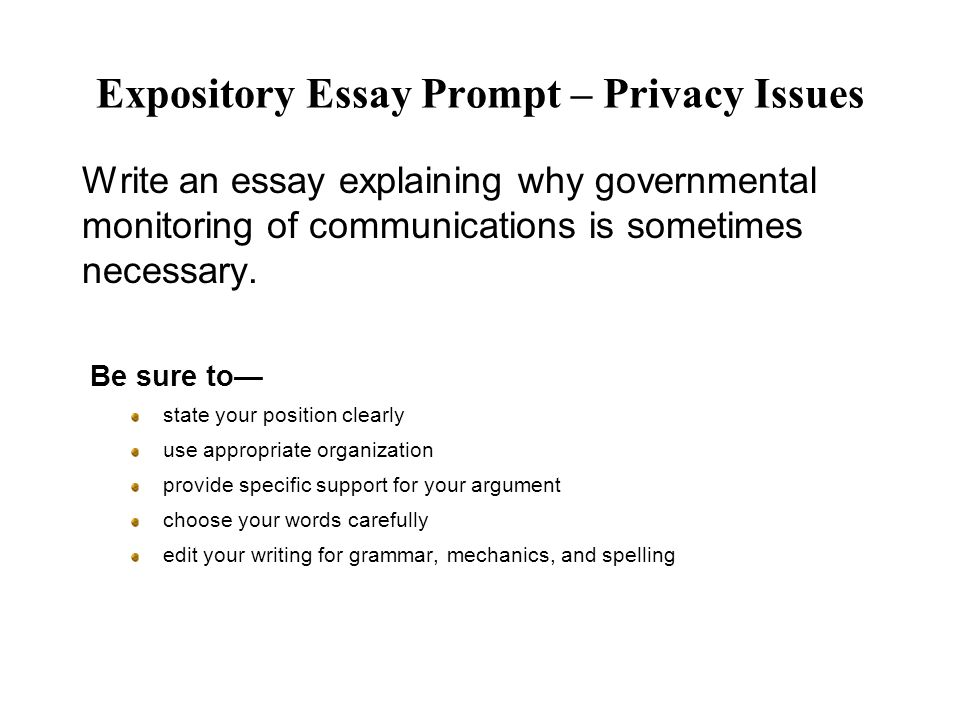 Expository Essay Prompt – Privacy Issues