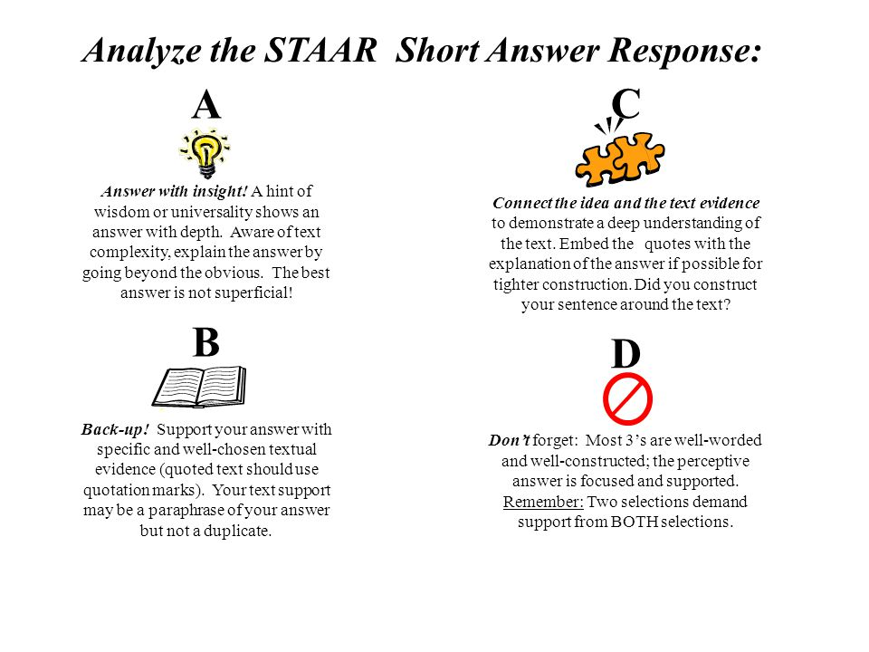 Analyze the STAAR Short Answer Response:
