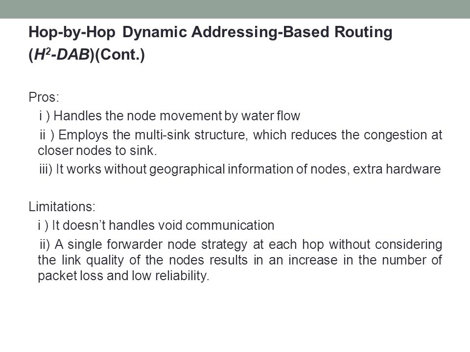 Hop-by-Hop Dynamic Addressing-Based Routing (H2-DAB)(Cont.)
