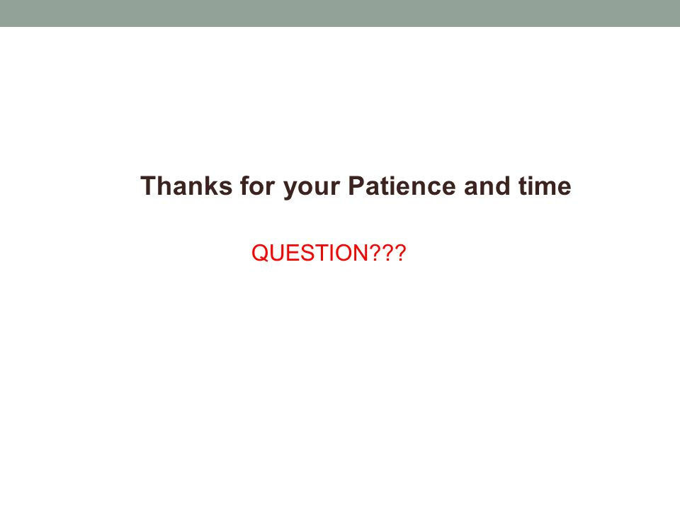 Thanks for your Patience and time QUESTION