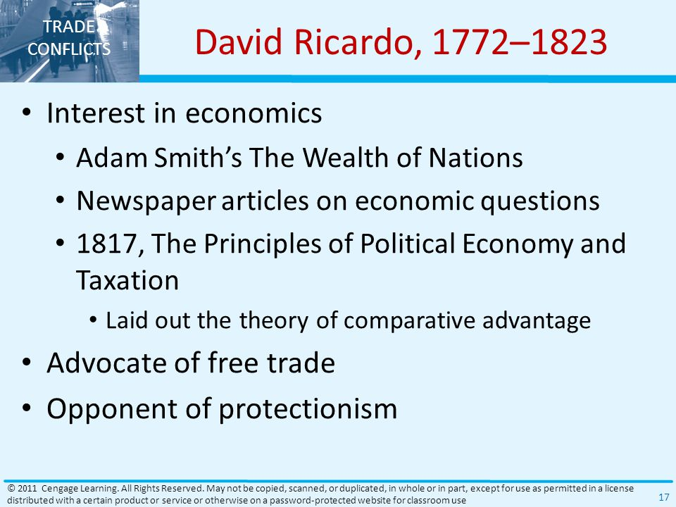 David Ricardo, 1772–1823 Interest in economics Advocate of free trade