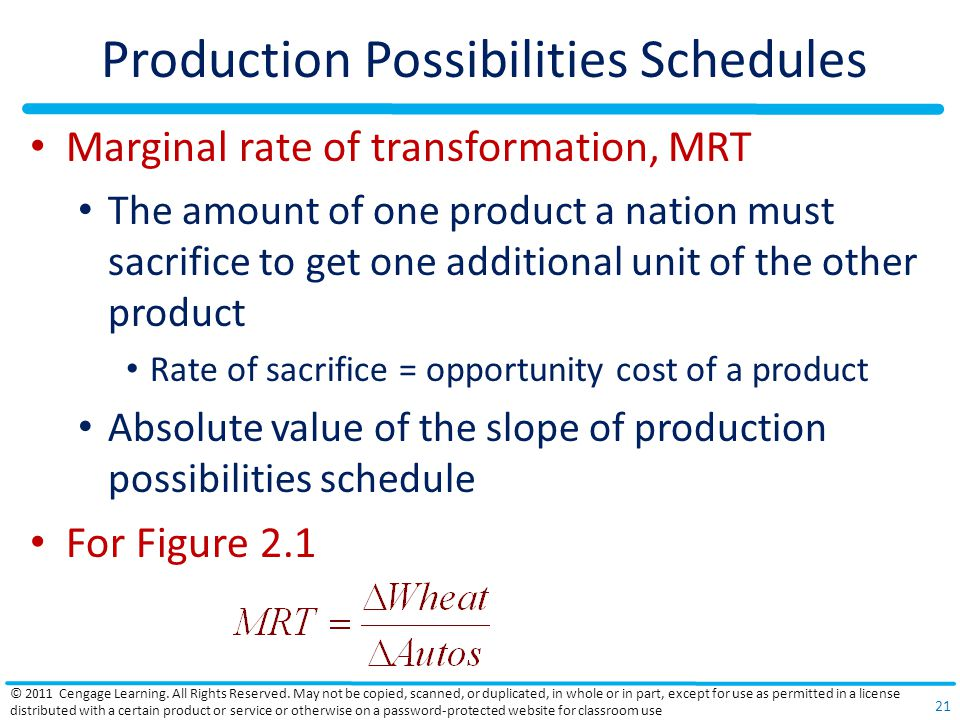 Production Possibilities Schedules
