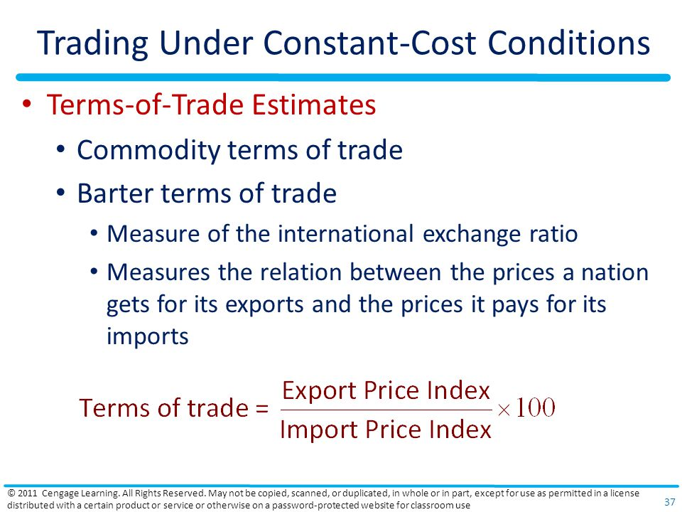 Trading Under Constant-Cost Conditions