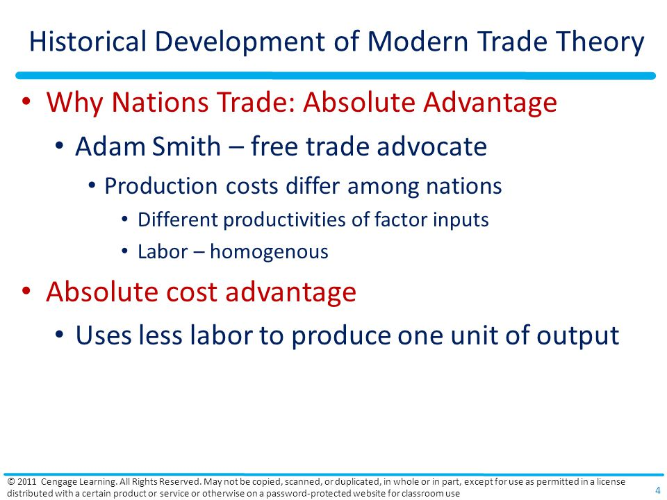 Historical Development of Modern Trade Theory