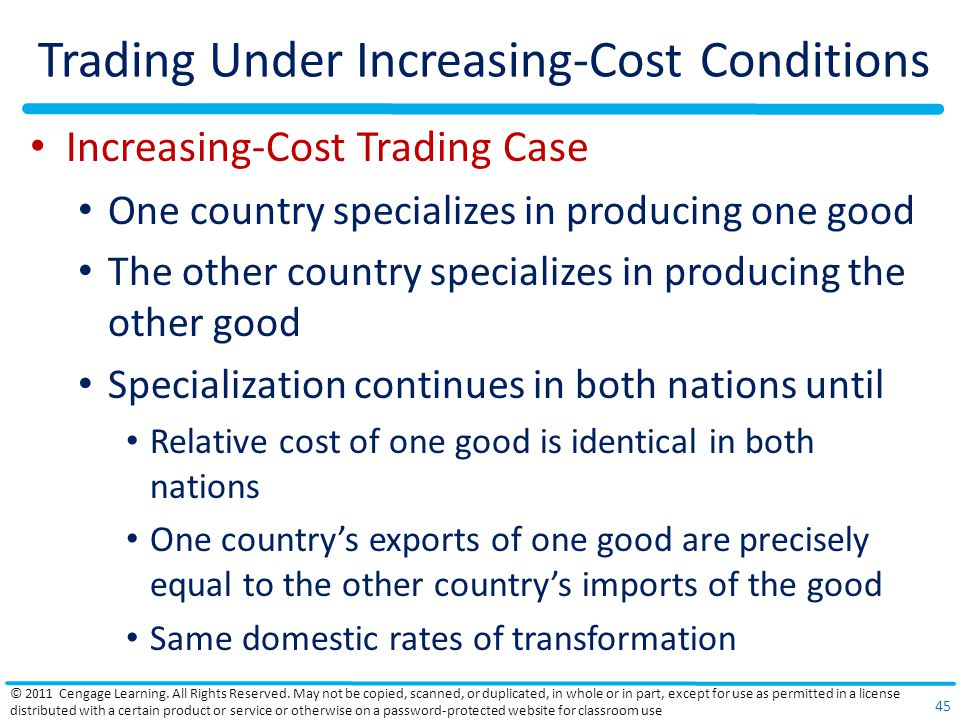 Trading Under Increasing-Cost Conditions