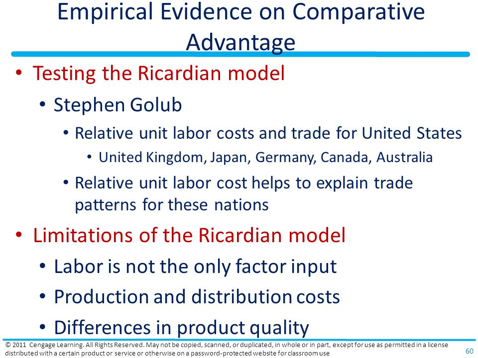 Empirical Evidence on Comparative Advantage