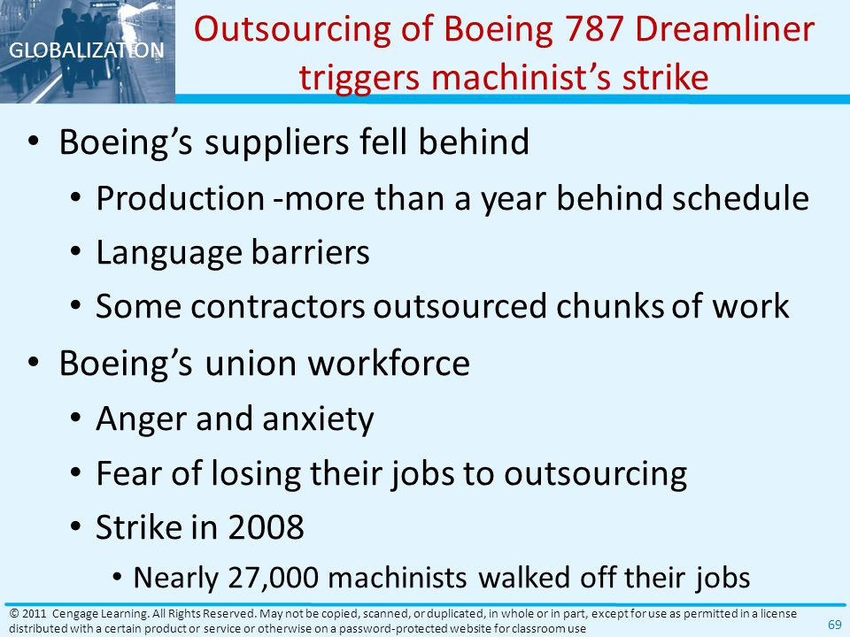 Outsourcing of Boeing 787 Dreamliner triggers machinist's strike
