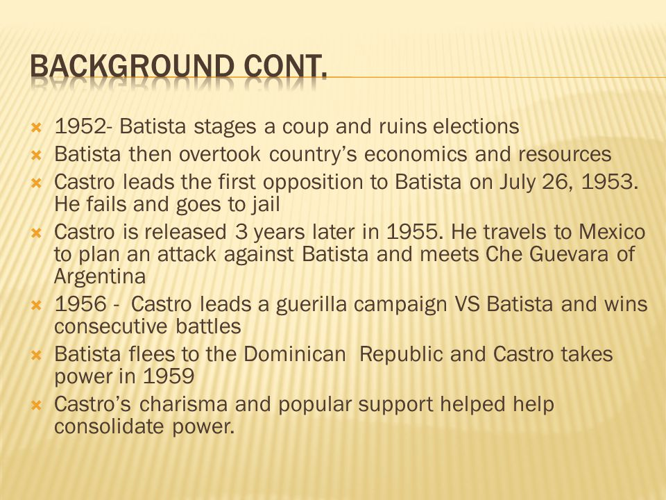 Background CONT. 1952- Batista stages a coup and ruins elections