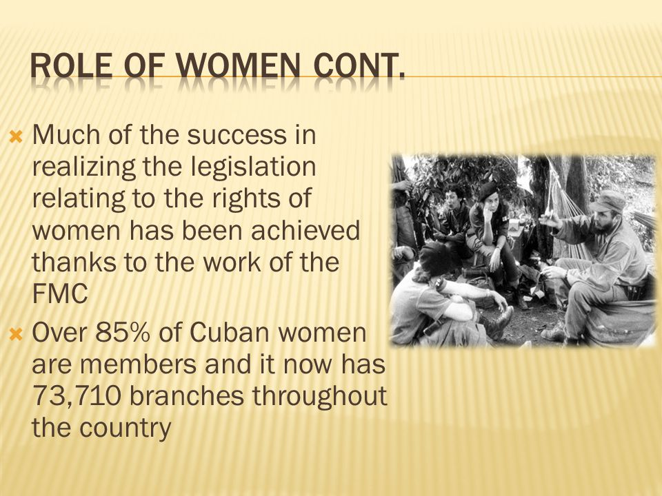 Role of Women cont. Much of the success in realizing the legislation relating to the rights of women has been achieved thanks to the work of the FMC.