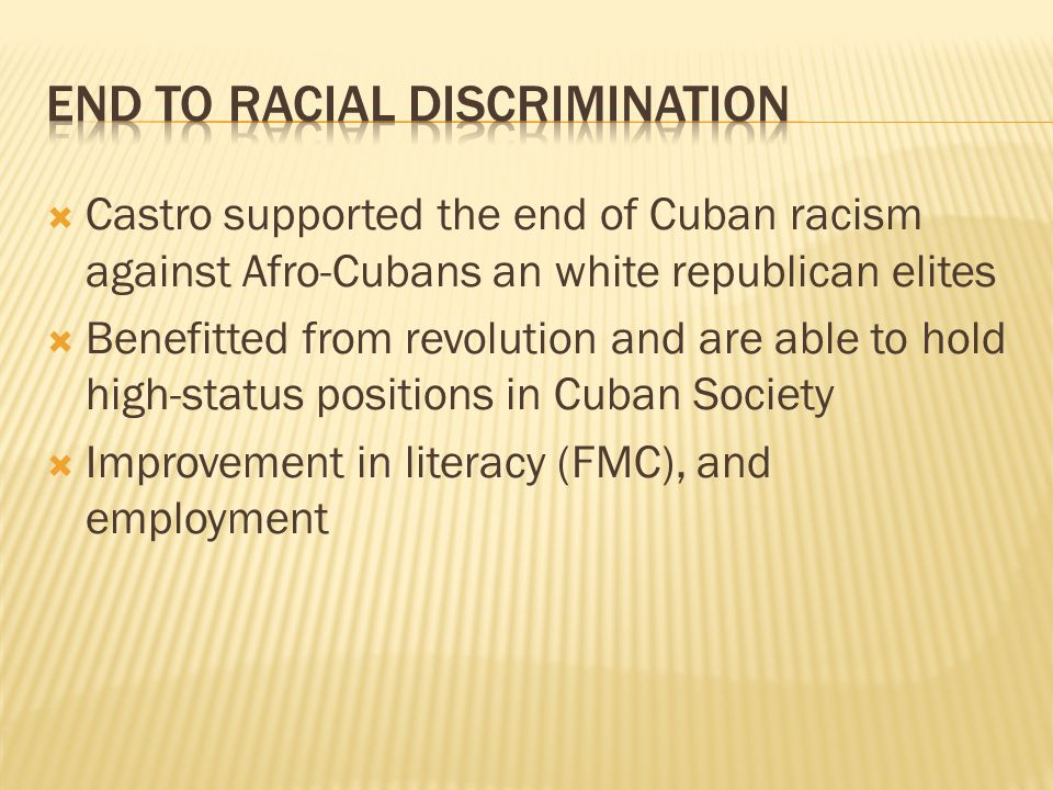 End to racial discrimination