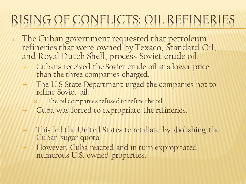 Rising of Conflicts: Oil refineries