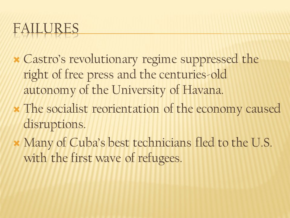 Failures Castro's revolutionary regime suppressed the right of free press and the centuries-old autonomy of the University of Havana.