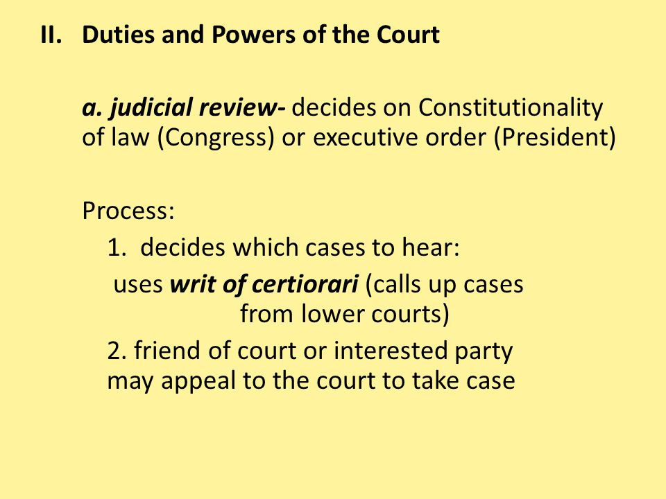 Duties and Powers of the Court