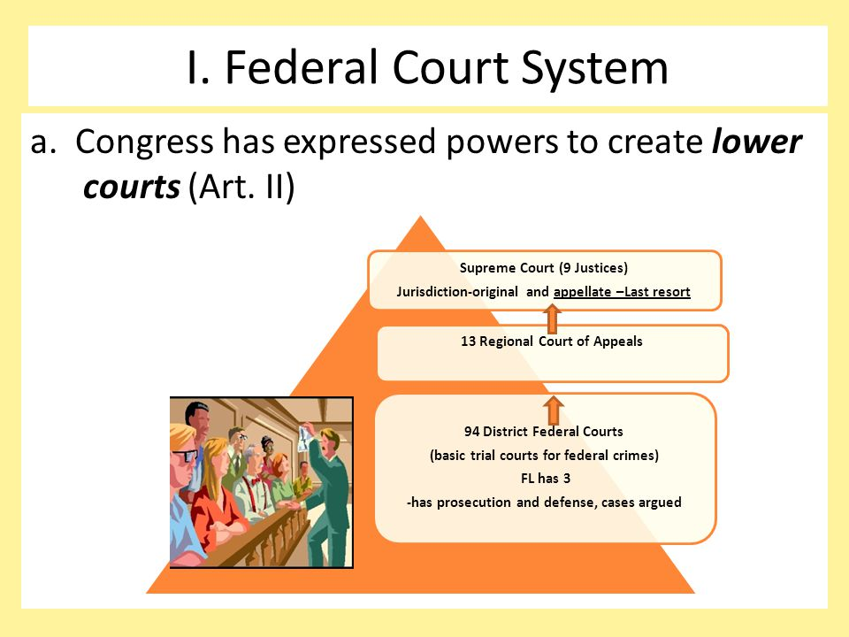 I. Federal Court System a. Congress has expressed powers to create lower courts (Art. II) Supreme Court (9 Justices)