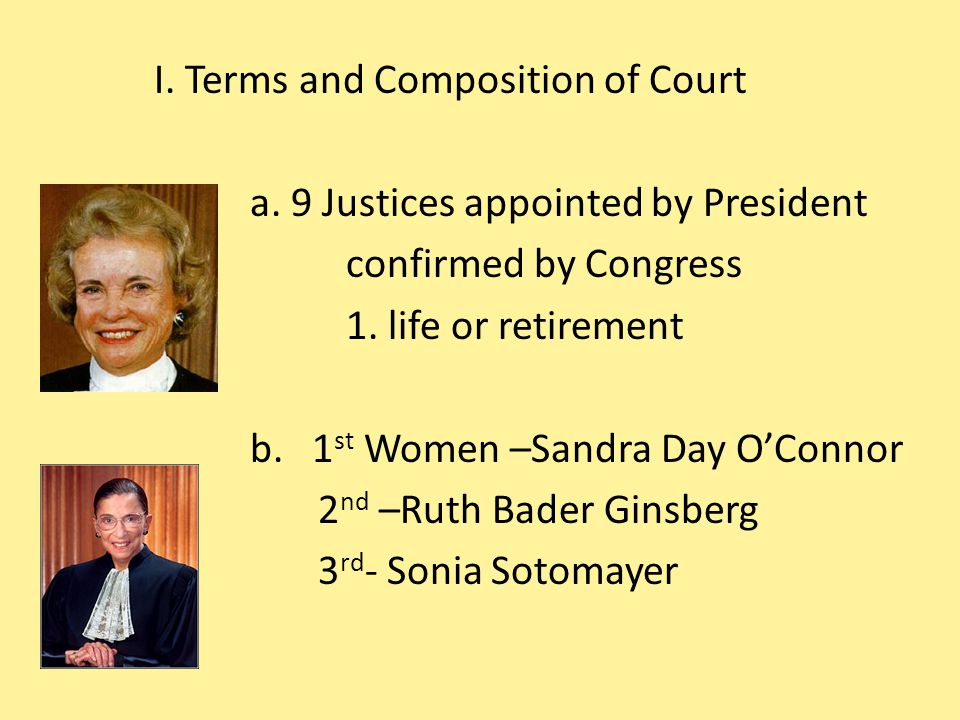 I. Terms and Composition of Court a
