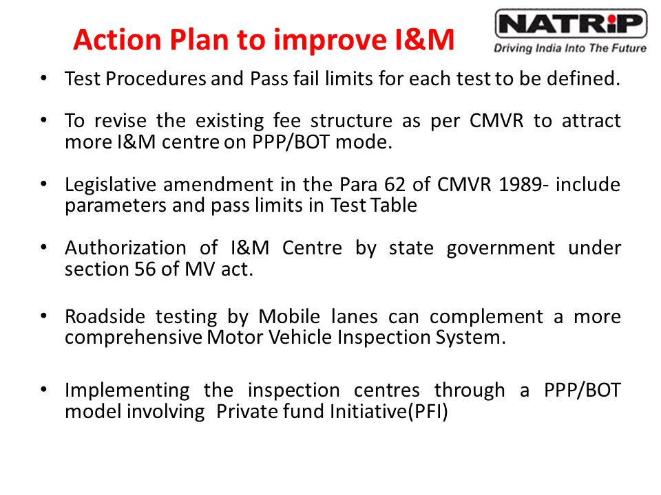 Action Plan to improve I&M