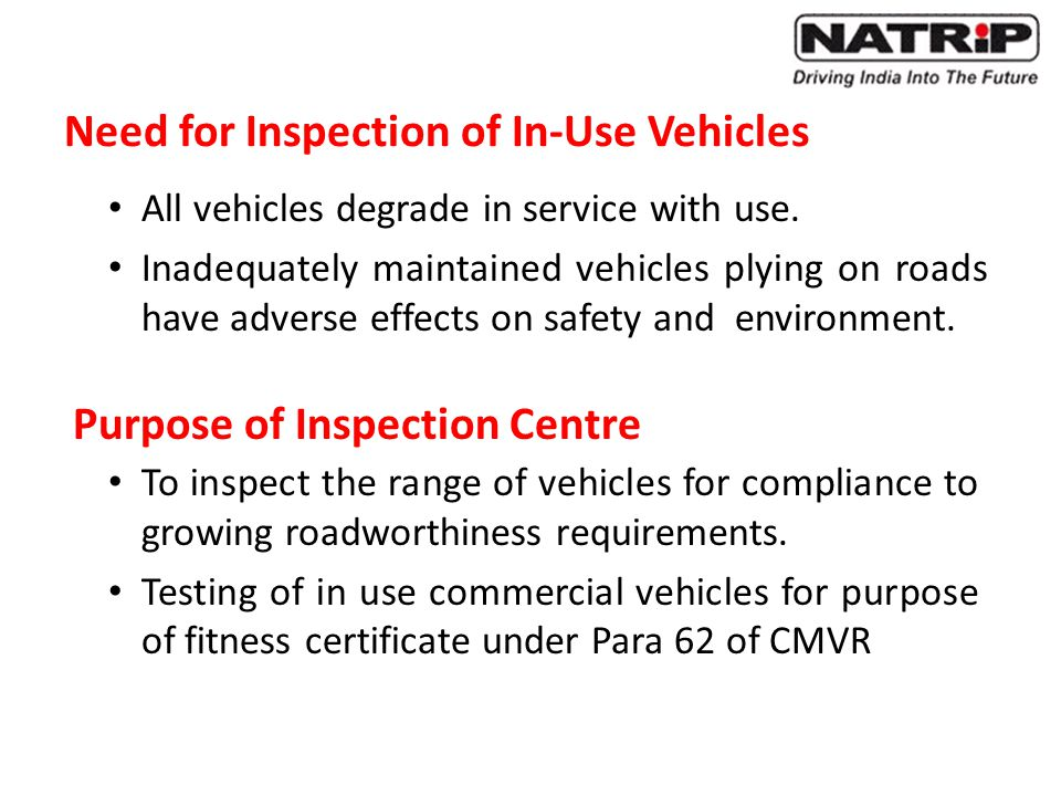 Need for Inspection of In-Use Vehicles