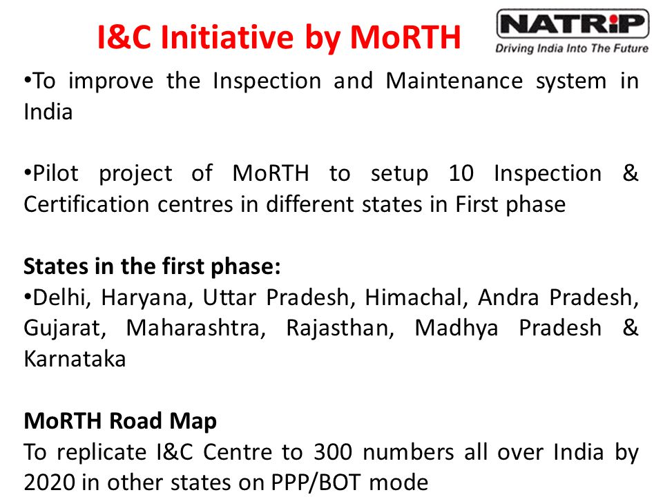 I&C Initiative by MoRTH