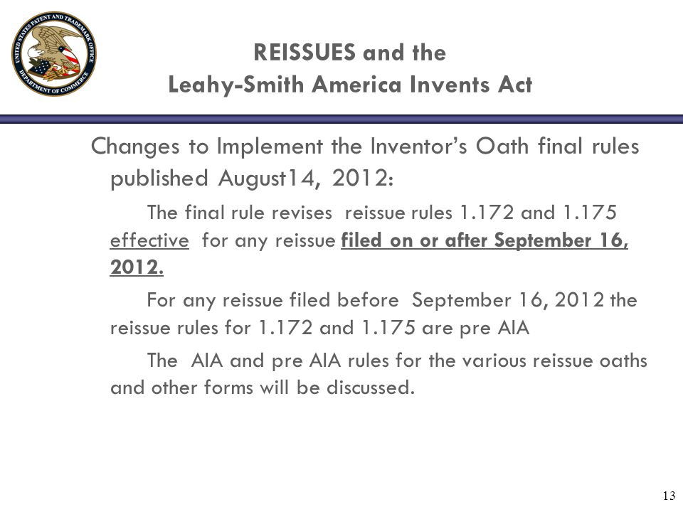 REISSUES and the Leahy-Smith America Invents Act