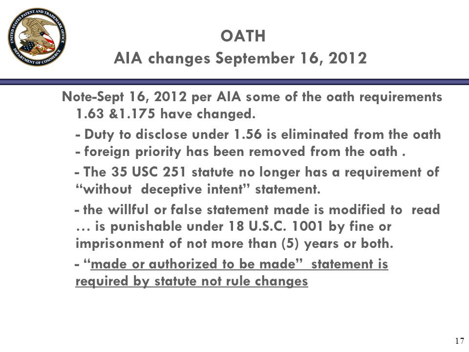 OATH AIA changes September 16, 2012