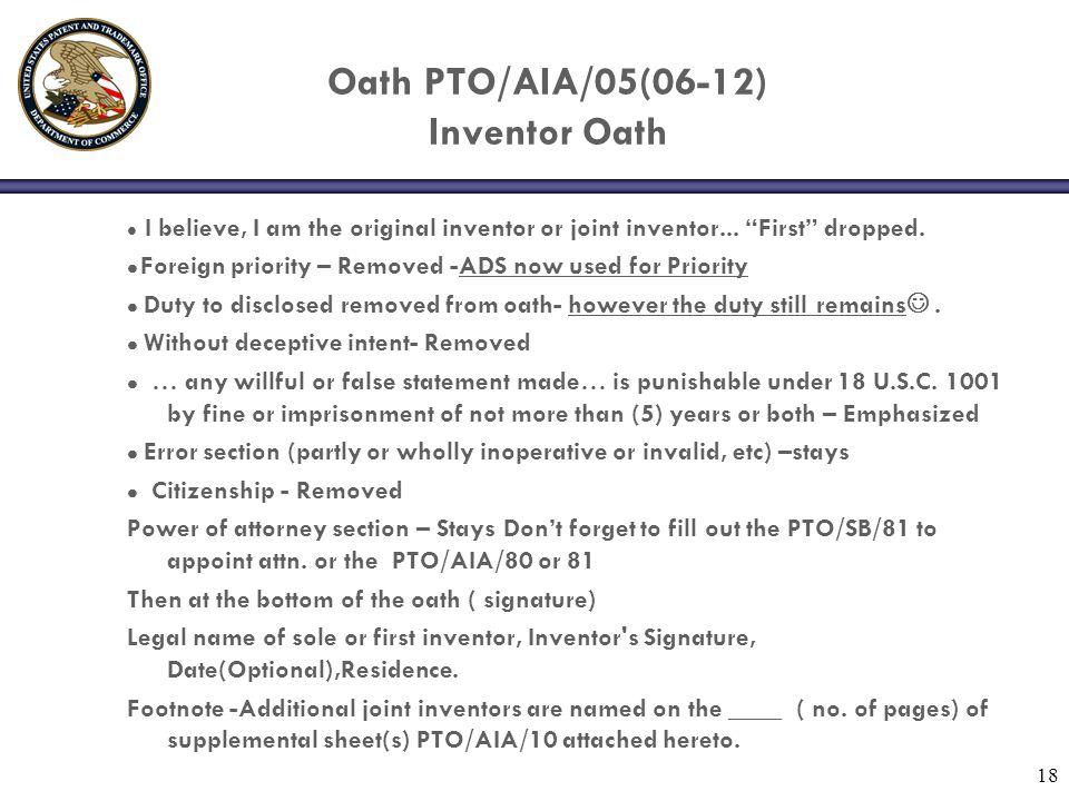 Oath PTO/AIA/05(06-12) Inventor Oath