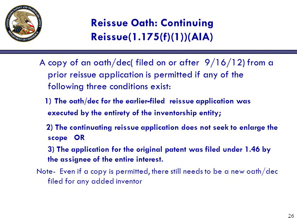 Reissue Oath: Continuing Reissue(1.175(f)(1))(AIA)