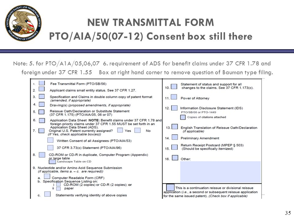NEW TRANSMITTAL FORM PTO/AIA/50(07-12) Consent box still there