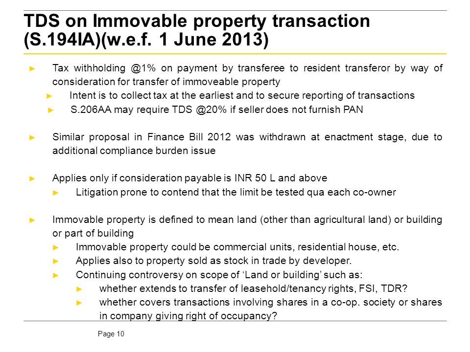TDS on Immovable property transaction (S.194IA)(w.e.f. 1 June 2013)