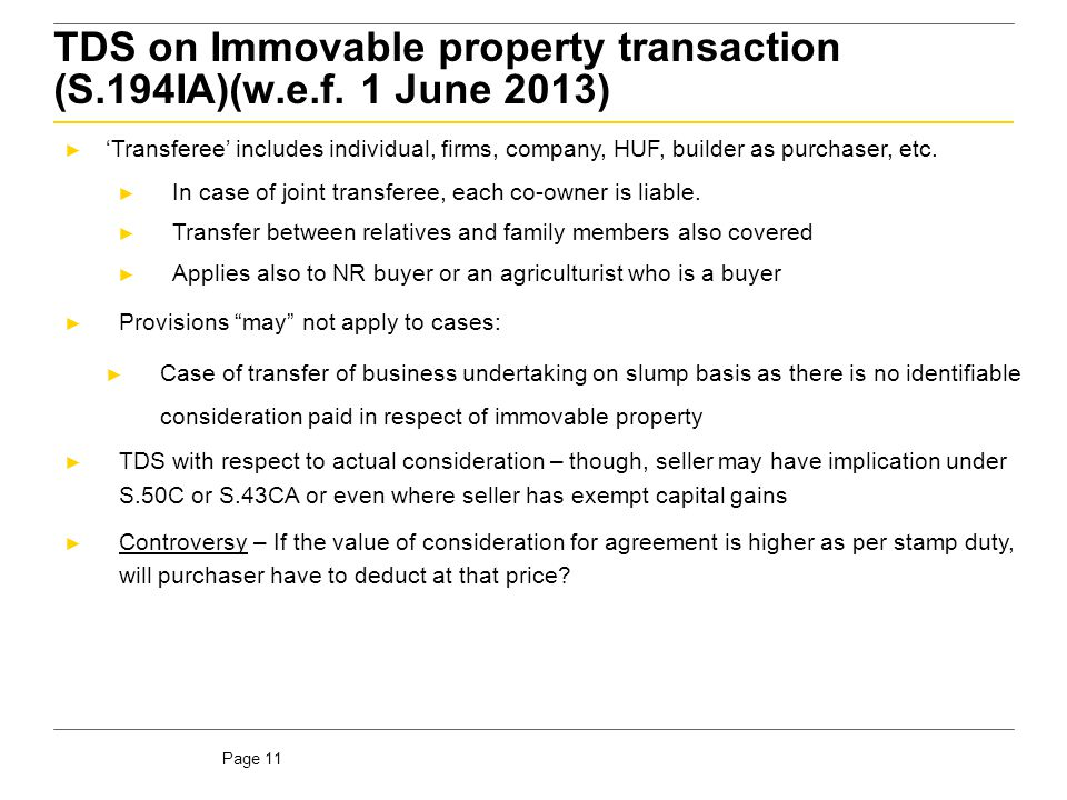 TDS on Immovable property transaction (S.194IA) (w.e.f. 1 June 2013)