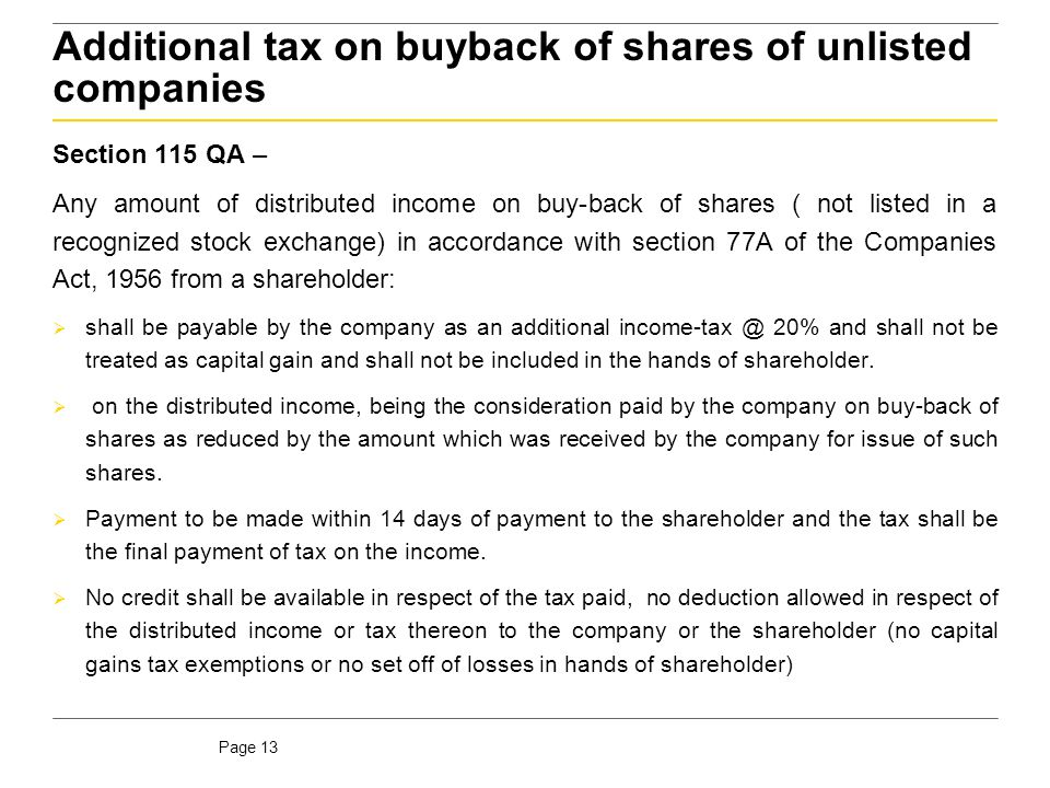 Additional tax on buyback of shares of unlisted companies