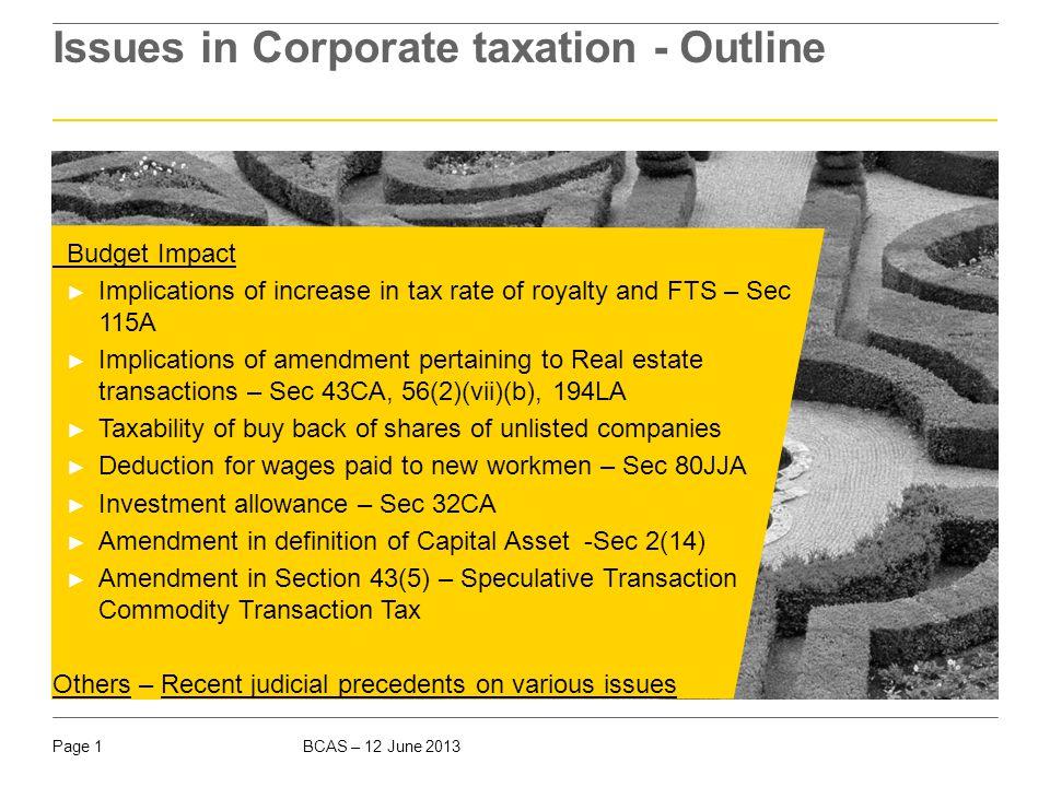 I Budget 2013 Budget 2013 Direct Tax amendments