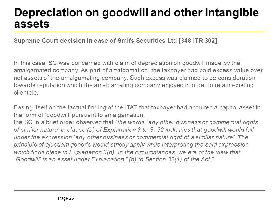 Goodwill due to amalgamation