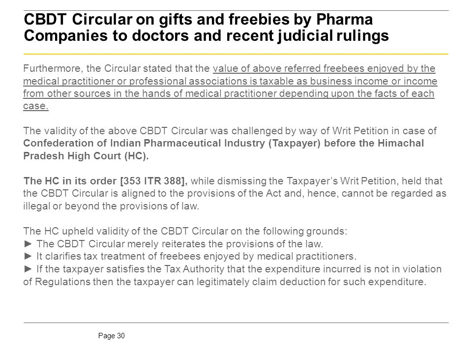 CBDT Circular on gifts and freebies by Pharma Companies to doctors and recent judicial rulings