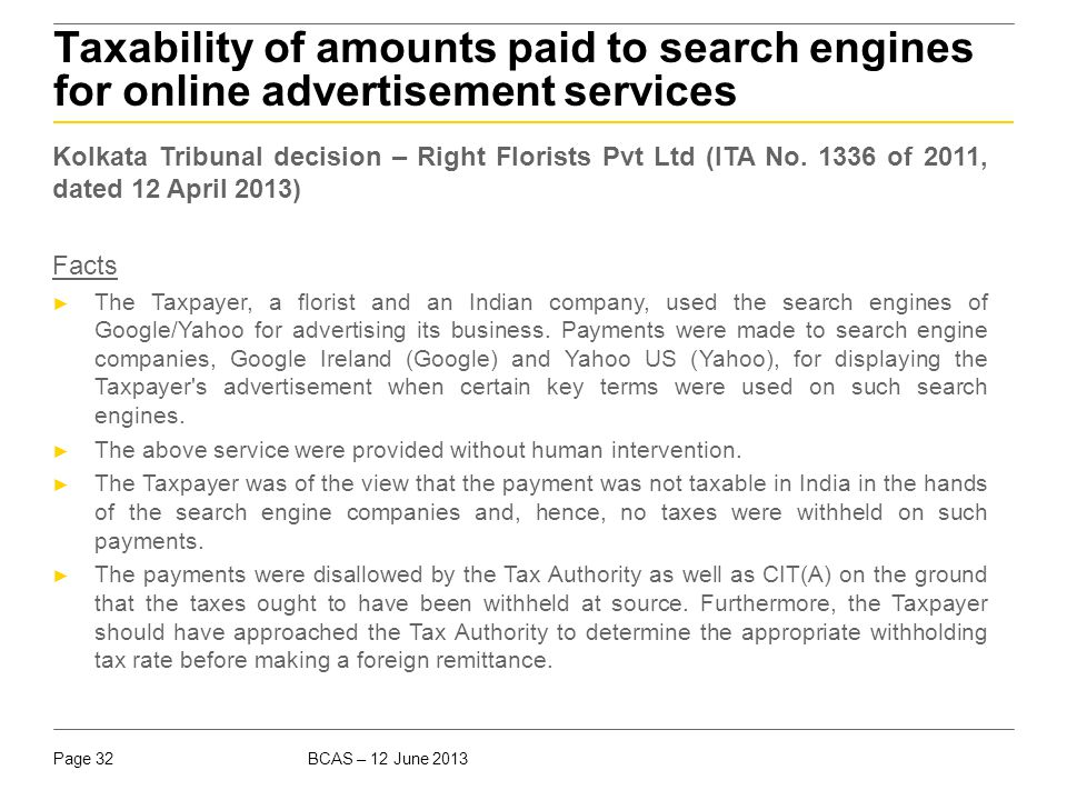 Taxability of amounts paid to search engines for online advertisement services