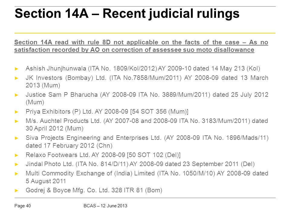 Section 14A – Recent judicial rulings