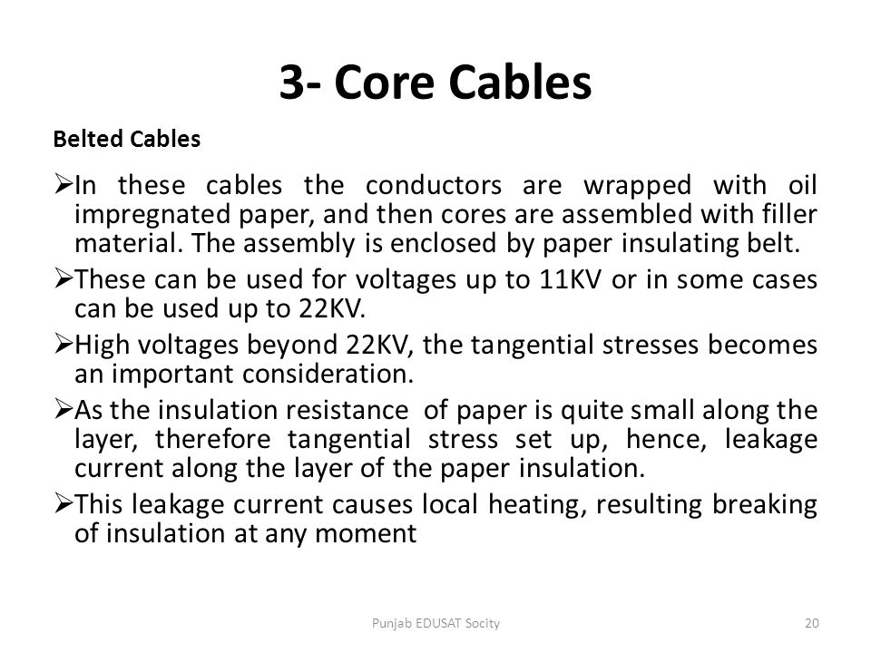 3- Core Cables Belted Cables.