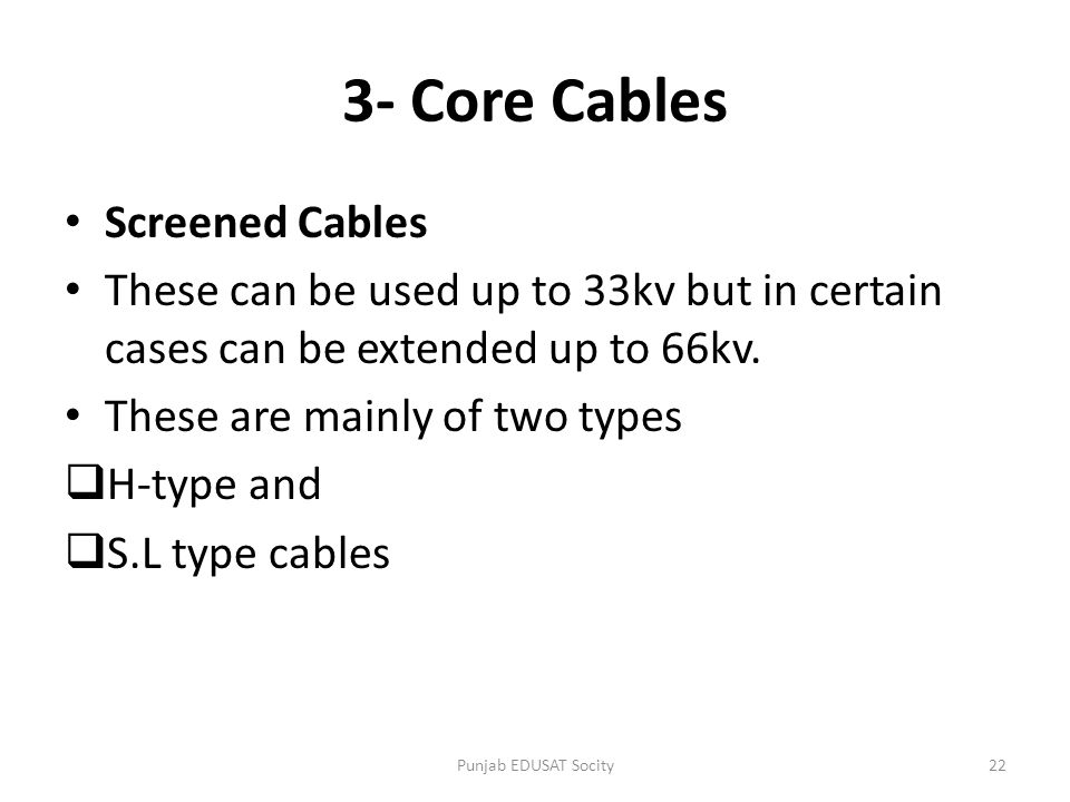 3- Core Cables Screened Cables