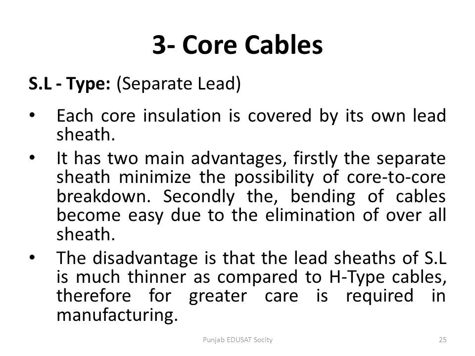 3- Core Cables S.L - Type: (Separate Lead)